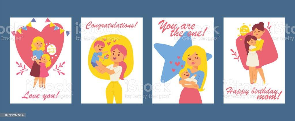 Belles Femmes Avec Des Enfants Carte De Fête Des Mères Heureux Carte