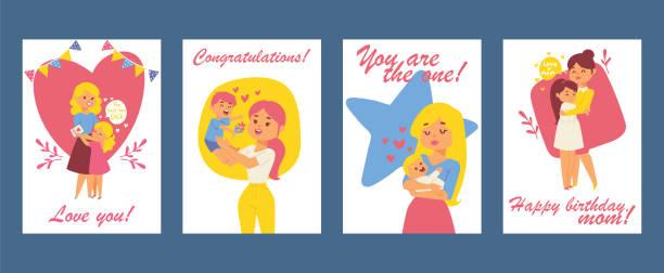 schöne frauen mit kindern. glückliche mütter-tageskarte. alles gute zum geburtstag grußkarte. vektor-illustration mit mama und kinder. schöne elternschaft, mutterschaft. menschen umarmen. - elternhochzeitsgeschenke stock-grafiken, -clipart, -cartoons und -symbole