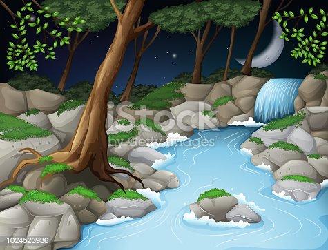 Beautiful wood scene at night illustration