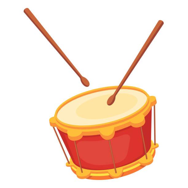 stockillustraties, clipart, cartoons en iconen met mooie houten percussie muziekinstrument-drum met eetstokjes. - drum