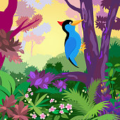 Woodpecker in a colorful jungle.