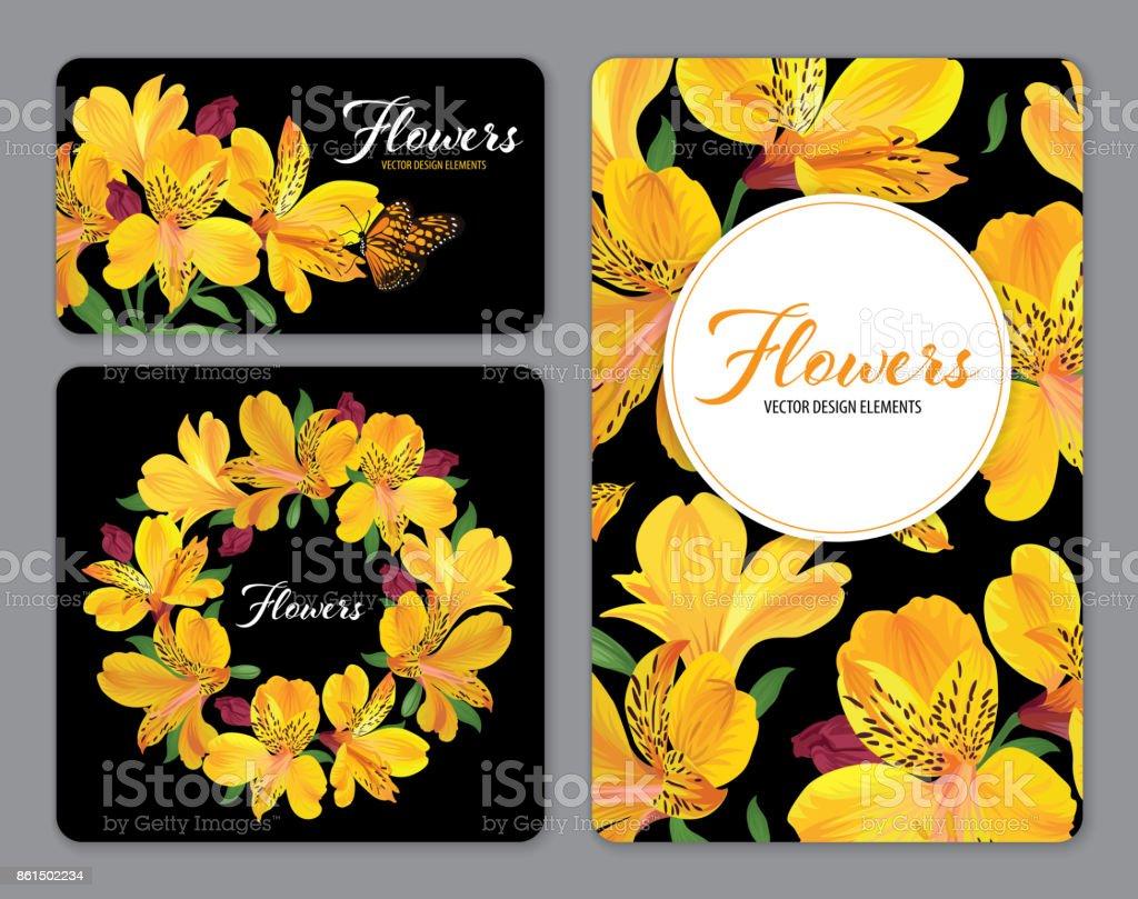 Flores de lirio hermoso alstroemeria amarillo en la plantilla de fondo negro. - ilustración de arte vectorial