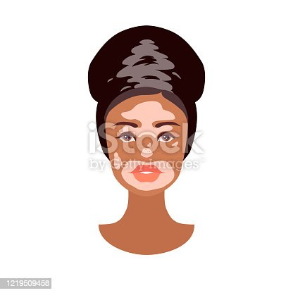 Beautiful young African woman face with Vitiligo disorder texture. Skin condition that causes loss of melanin. Сute girl heads isolated on white background. Stock vector illustration in flat style.
