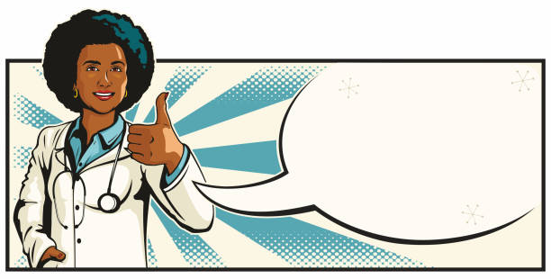 Beautiful Young Black Female Doctor Giving Thumbs Up vector art illustration