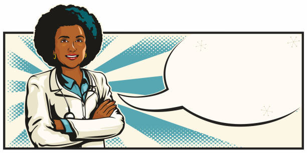 Beautiful Young Black Female Doctor With Arms Crossed vector art illustration