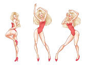 Beautiful young blonde woman dancing in red underwear, hot sexy girl, club, burlesque, striptease sex symbol. Vector illustration