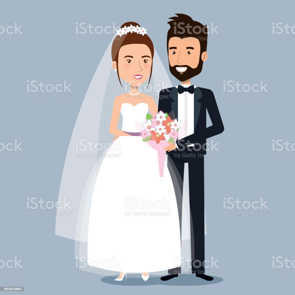 beautiful young bride and groom couple holding hands on wedding day vector art illustration