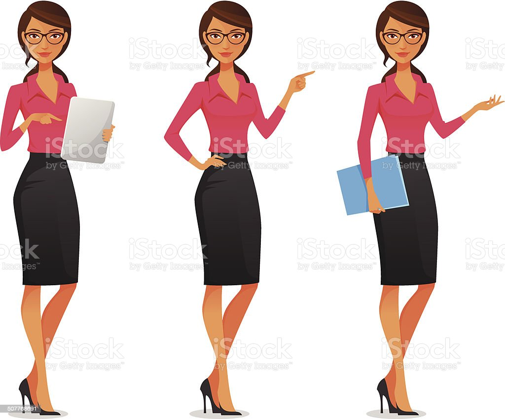 beautiful young business woman in various poses vector art illustration