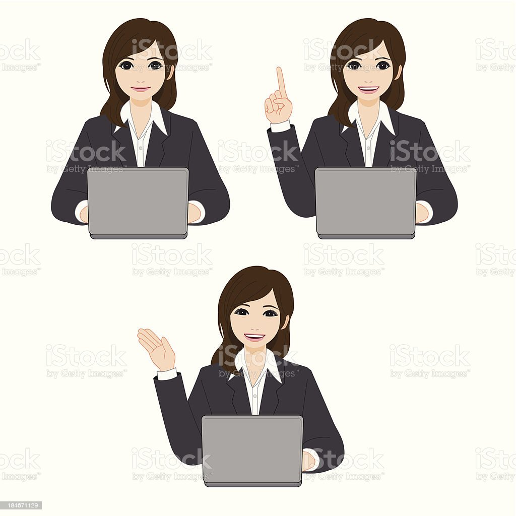 Beautiful Young Businesswoman Using Laptop royalty-free stock vector art