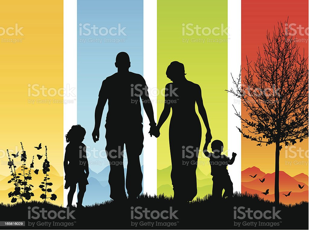 Beautiful young family of four walking in silhouette vector art illustration