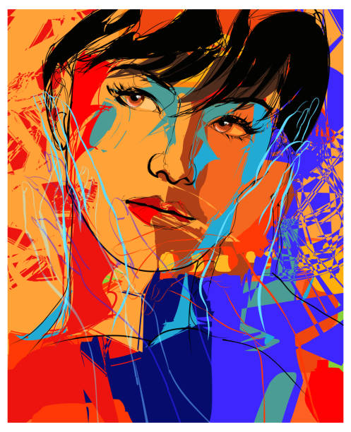 Beautiful young fashion model vector art illustration