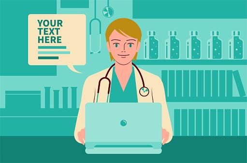 美麗的年輕女醫生使用筆記型電腦給你建議遠程醫療概念向量圖形及更多2019冠狀病毒病圖片