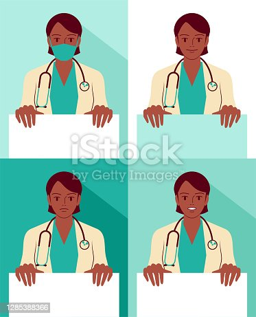 istock Beautiful young female doctor (nurse, healthcare worker) wearing a lab coat, stethoscope and face mask, holding a blank sign, with facial expression of Smiling, Talking and Anger 1285388366