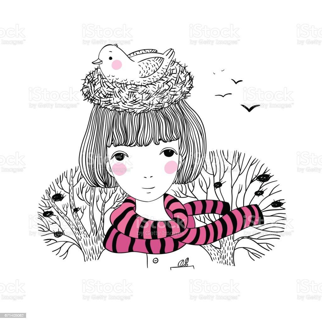 Schöne junge Mädchen und ein Vogel in einem Nest. – Vektorgrafik