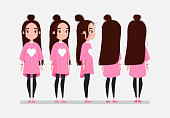 Beautiful young girl character turnaround. Girl with long dark hair in pink t-shirt. Animation character design