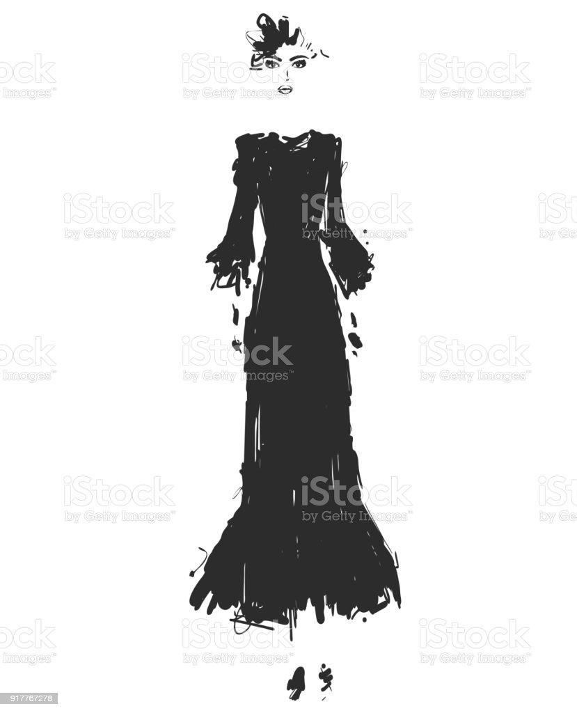 af38224c5eabe Güzel Genç Kız Için Tasarım Moda Modeli Kroki Çizim Siyah Uzun ...