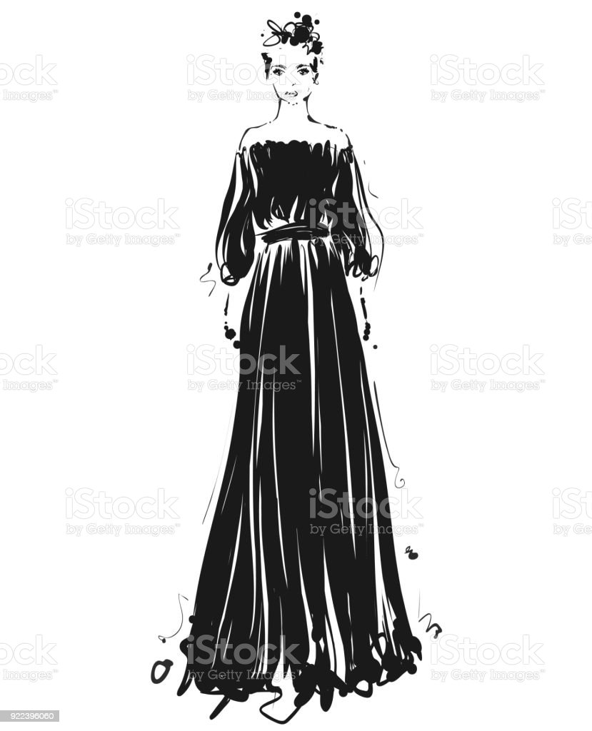 Beautiful Young Girl For Design Fashion Model Sketch Drawing Black Long Dress Stock Illustration Download Image Now Istock