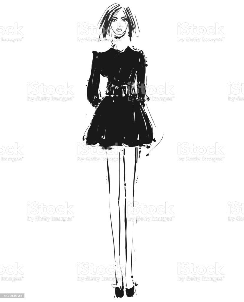 1ae460f8032a4 Güzel genç kız elbise. Moda modeli kroki çizim. royalty-free güzel genç kız