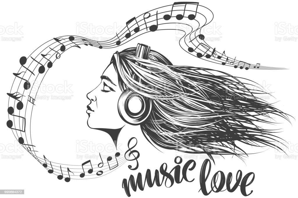 Garabatee El Ejemplo Con Las Notas Musicales Dibujo Del Vector De