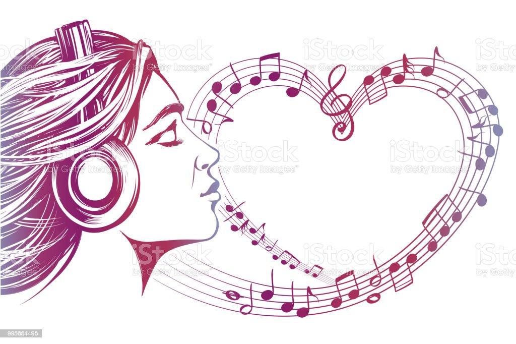 Belle Jeune Fille écouter De La Musique Sur Le Casque Notes De