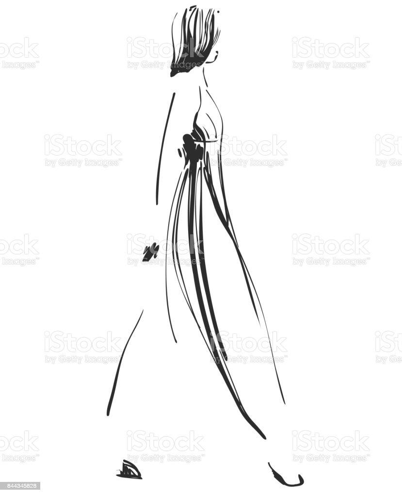 Ilustración De Modelo Hermosa Joven Para El Diseño Moda Estilo