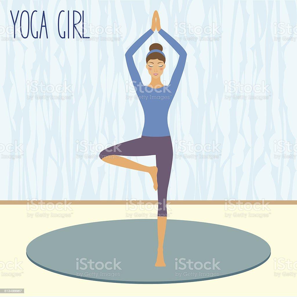 Belle jeune fille pratiquant le yoga dans la salle de sport stock vecteur  libres de droits d7753c11a2a