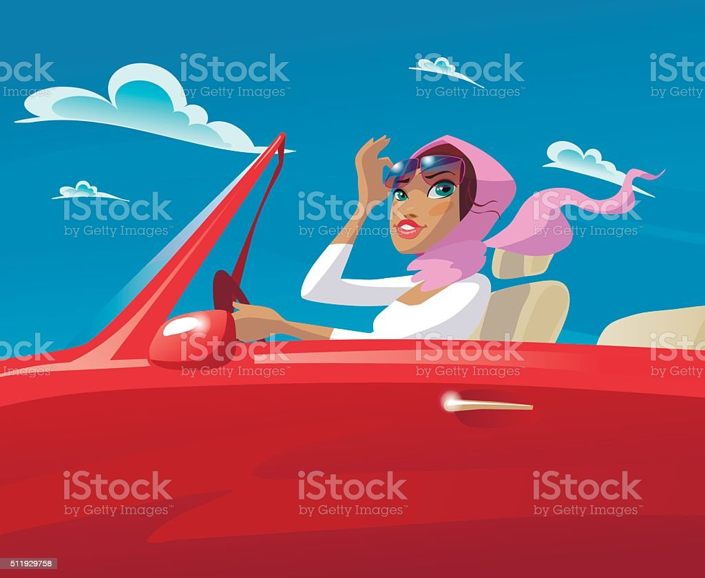 beautiful young girl riding in an open car vector art illustration
