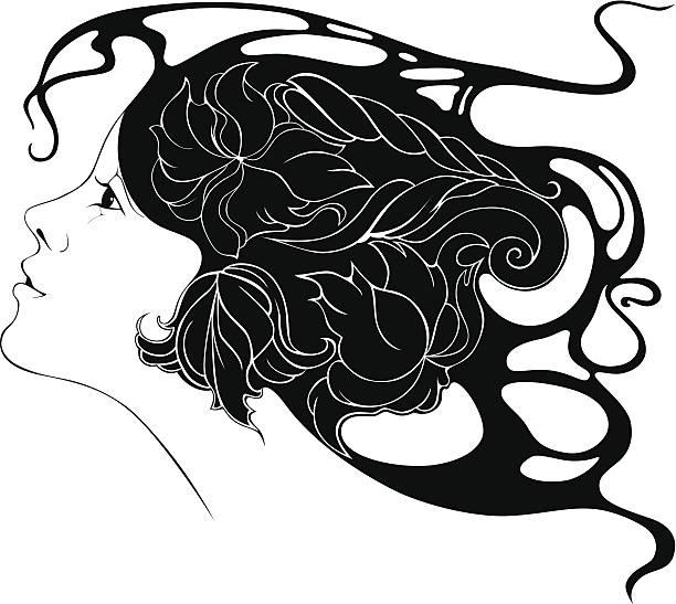 beautiful young girl vector art illustration