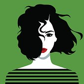 Vector illustration of the beautiful young girl with unruly black hair
