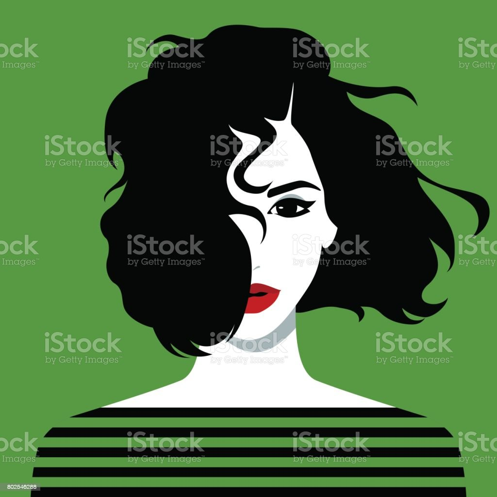 Beautiful young girl vector art illustration