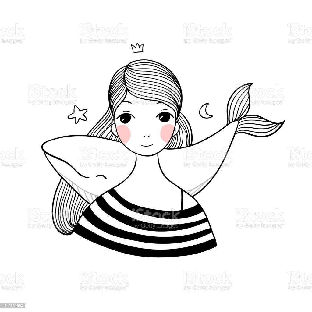 Linda garota com uma baleia. - ilustração de arte em vetor
