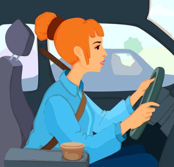 ilustrações, clipart, desenhos animados e ícones de rapariga bonita com penteado do bolo do cabelo que senta-se atrás da roda de um carro, olhando para a frente, prendendo as mãos na roda de direcção. - carro mulher