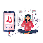 A beautiful young girl with headphones listens to her favorite music and smiles. Music lover, music lover, online radio. A woman enjoys songs in headphones through a smartphone. Vector.