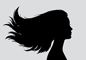Beautiful young girl with long hair head silhouette. Black silhouette isolated on gray background. Design element for advertising print, web design or social networks.
