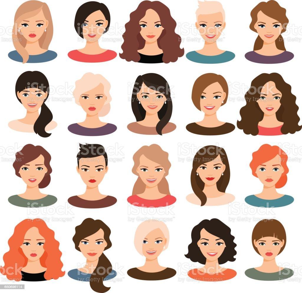 Mooie jonge meisjes portret verzameling - Royalty-free Avatar vectorkunst
