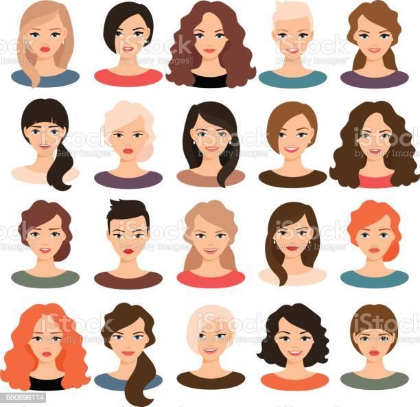 Mooie Jonge Meisjes Portret Verzameling Stockvectorkunst en meer beelden van Avatar