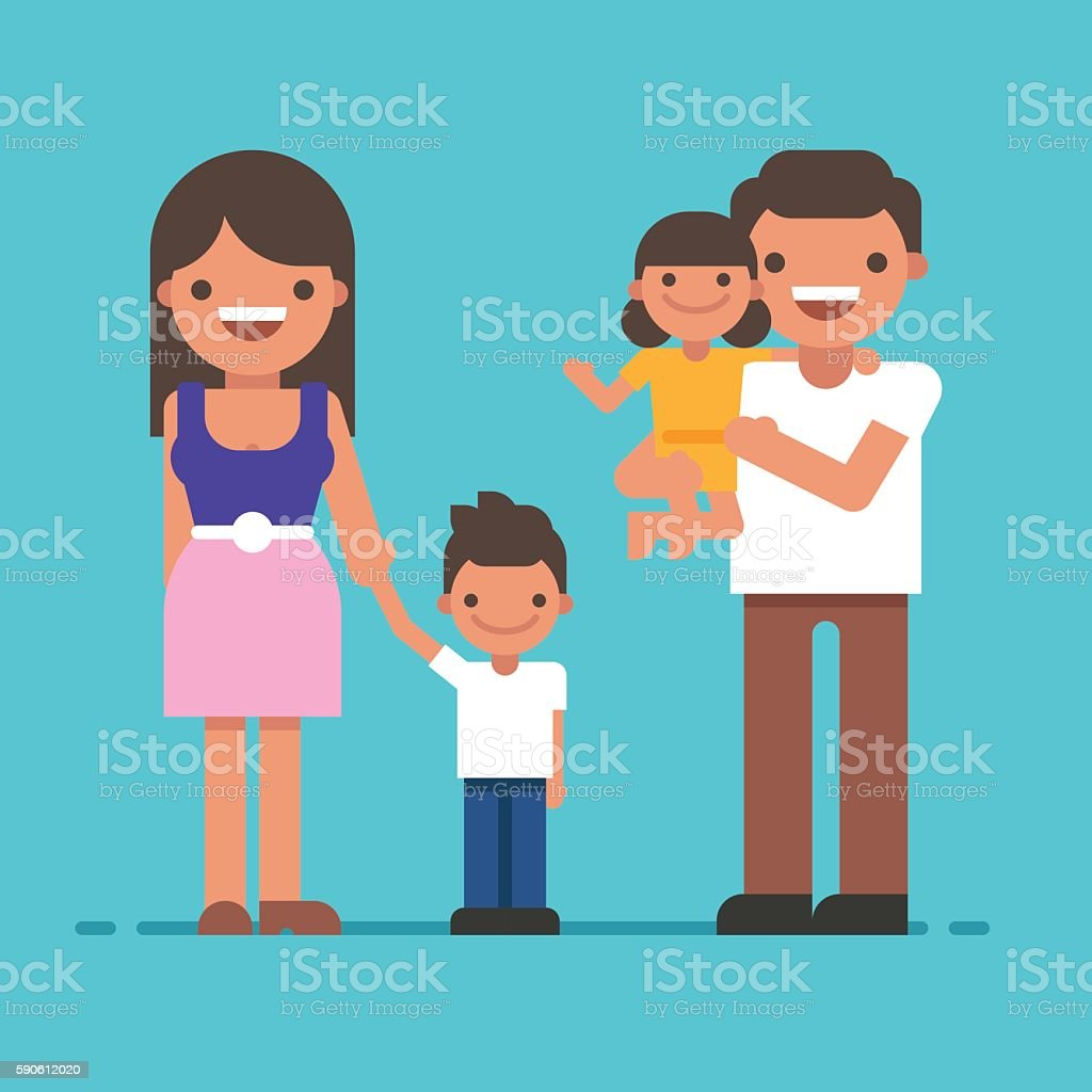 Beautiful young happy family portrait gesturing with cheerful smile vector art illustration