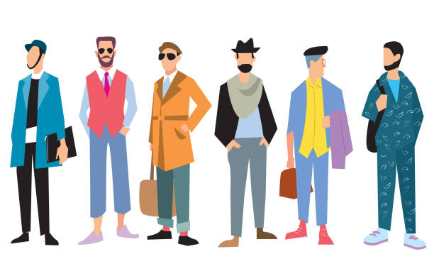 ilustrações, clipart, desenhos animados e ícones de bela jovem masculina na moda roupas, vetor - moda urbana