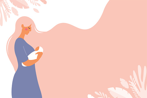 A beautiful young mom is holding a newborn baby in her hands. Poster with copy space about motherhood. Flat vector concept illustration with pink background.