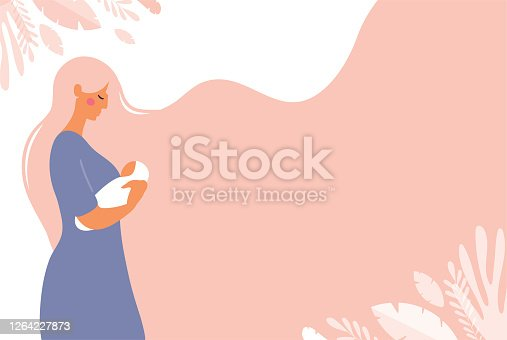 istock A beautiful young mom is holding a newborn baby in her hands. Poster with copy space about motherhood. Flat vector concept illustration with pink background. 1264227873