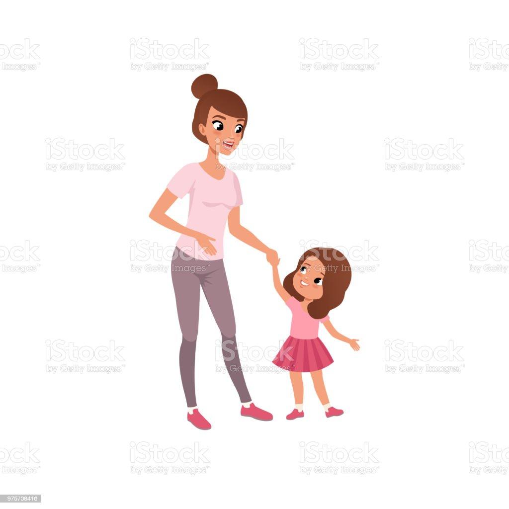 Schöne junge Mutter und ihre kleine Tochter, Phase des Erwachsenwerdens Konzept Vektor-Illustration – Vektorgrafik
