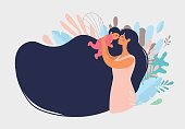 istock Beautiful young mother holds a baby. The concept of family, motherhood, pregnancy. Modern vector flat illustration. Clipart for design with place for text. 1256619908