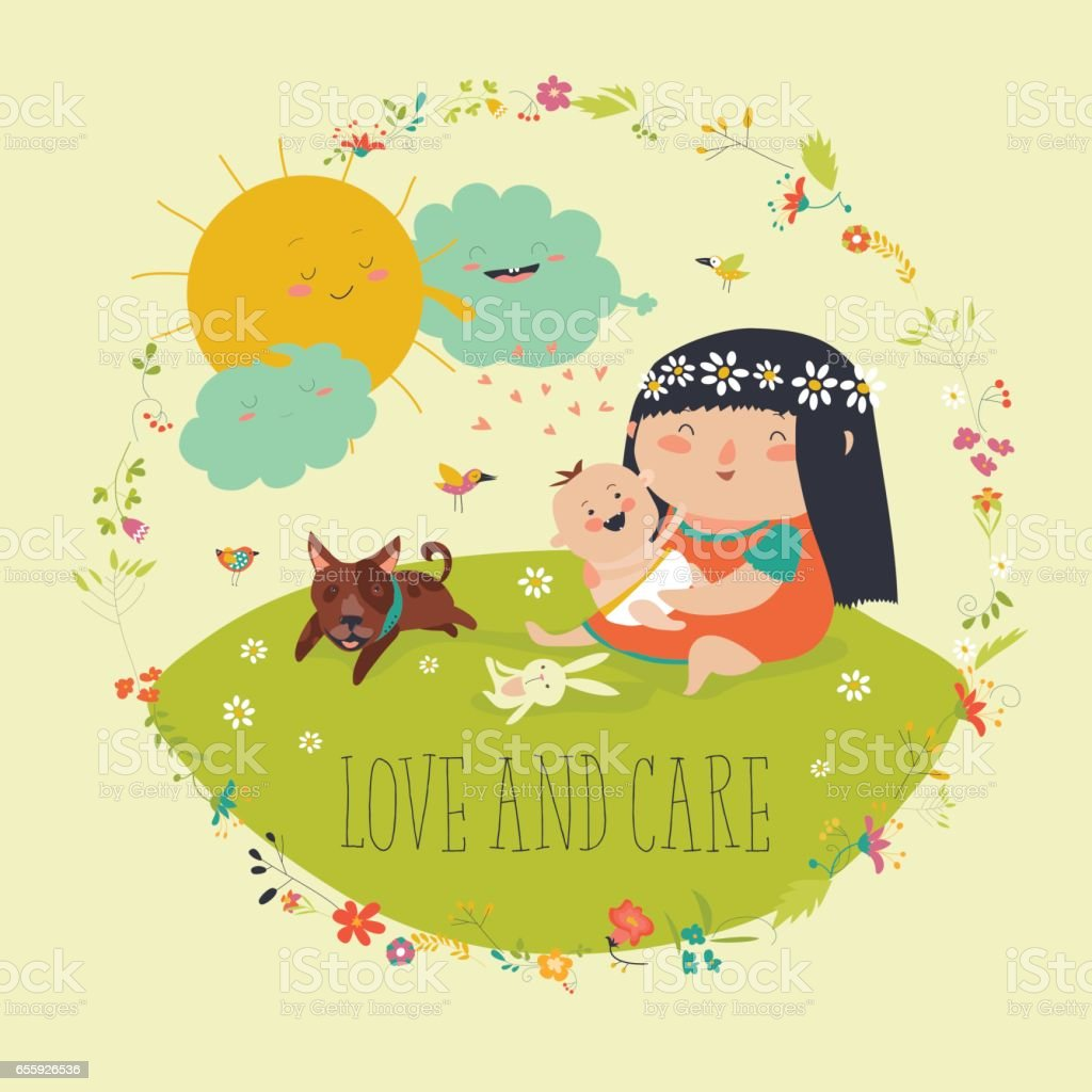Beautiful young mother hugging little toddler vector art illustration