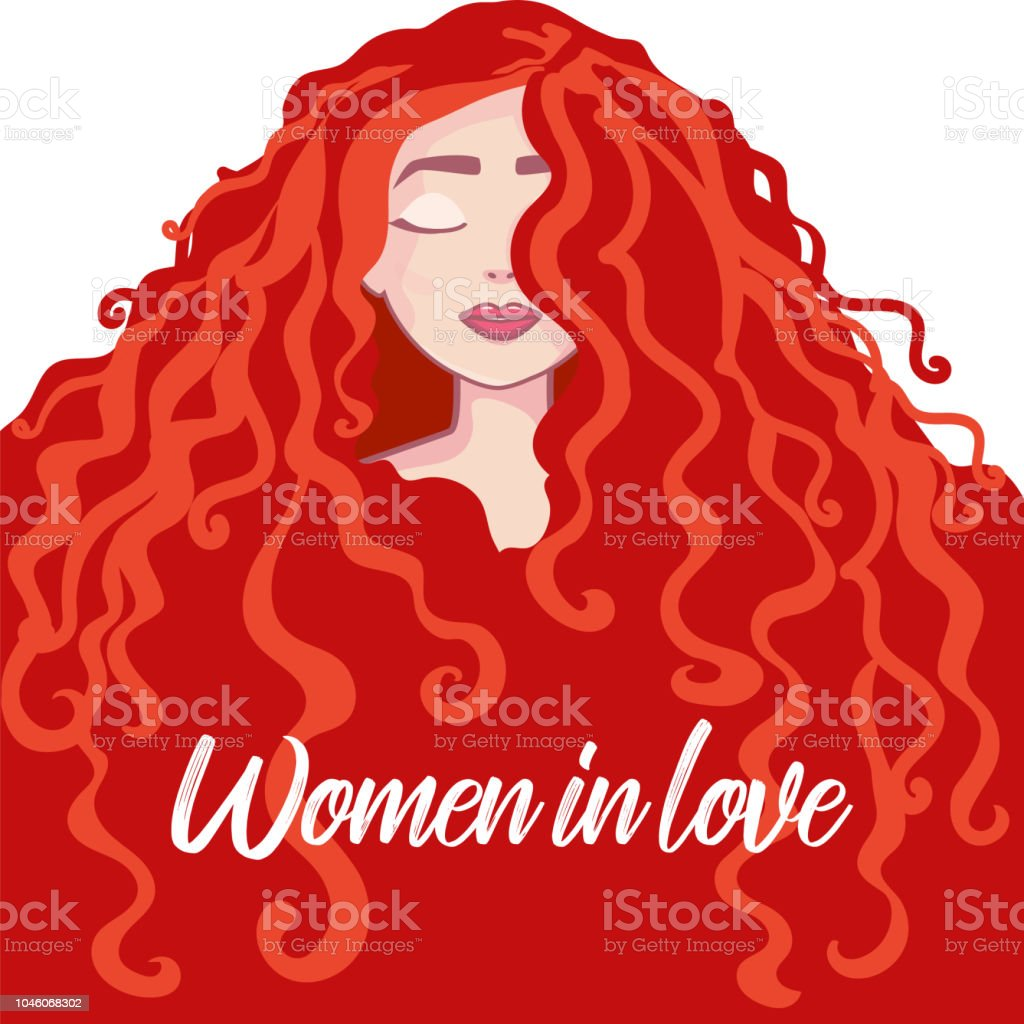 Beautiful Young redhead Girl Portrait. long hair, curly hair salon hairstyles and trendy haircut vector isolated on white background. vector art illustration