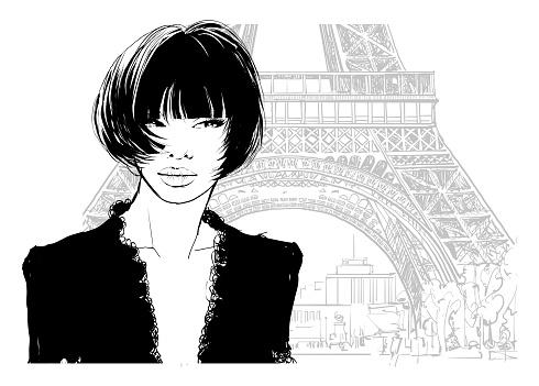 Beautiful young sexy asian woman in black dress visiting Paris