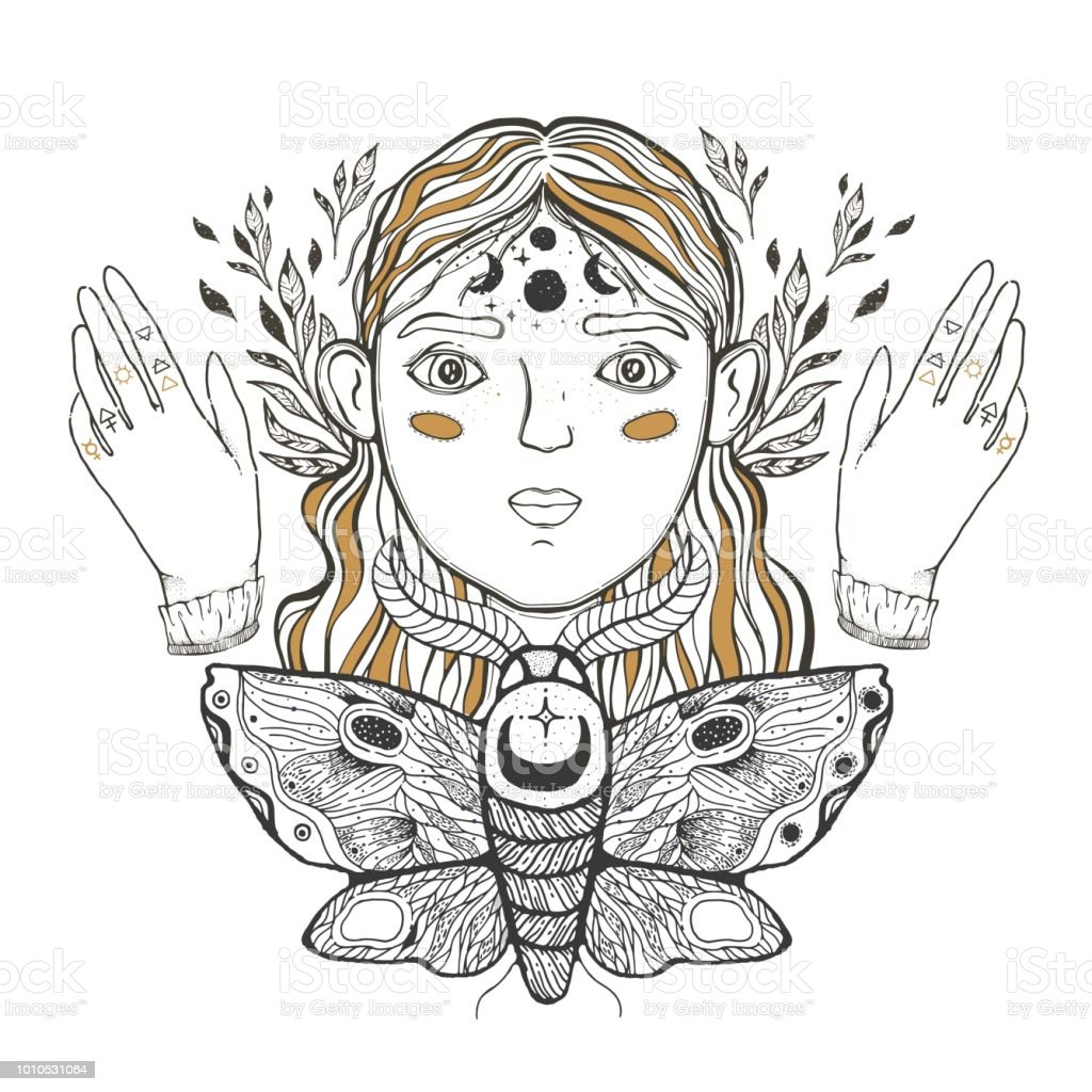 Beautiful Young Teenage Girl Face Foreground Vintage Sketch Style Of Drawing Sketch For Tattoo Isolated Print On Tshirt Magical Mystical Ethnic Style Stock Illustration Download Image Now Istock