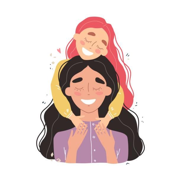 ilustraciones, imágenes clip art, dibujos animados e iconos de stock de hermosa joven y su encantadora hija pequeña. chica abraza a mamá y sonríe - hija