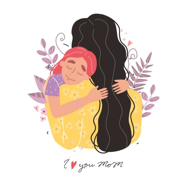 beautiful young woman and her charming little daughter. girl hugs mom and smiles - single mother stock illustrations