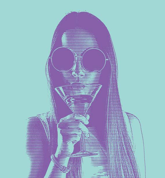 Beautiful Young woman drinking martini vector art illustration