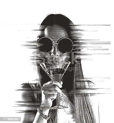 istock Beautiful Young woman drinking martini with glitch technique 1178684951